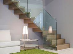 Escalera volada de madera FUTURA DESIGN - Novalinea #stairs #escaleras #wood #madera #glass #vidrio #interior #home #corner