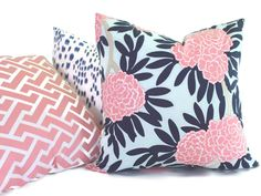 Caitlin Wilson Blue and Pink Floral 18x18, 20x20, 22x22, Euro sham or  Lumbar pillow cover, Accent Pillow, Throw Pillow, Toss Pillow by PopOColor on Etsy https://www.etsy.com/listing/194338161/caitlin-wilson-blue-and-pink-floral