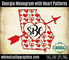 Georgia State Shape Heart Patterns For Monogram Valentines Day with svg, dxf, png and eps Commercial & Personal Use