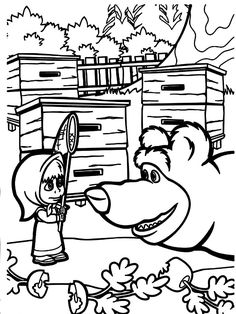 Картинки по запросу маша и медведь раскраска игра   Bear ...