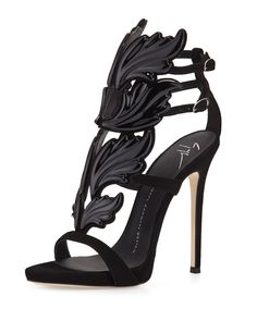 "Giuseppe Zanotti suede sandal with wings appliqu. 4.8"" covered stiletto heel; 0.5"" platform; 4.3"" equiv. Open toe. Caged vamp. Double adjustable ankle straps. Lightly padded footbed. Leather lining an"