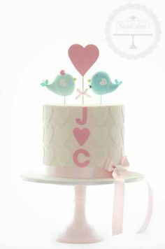 Would n't this be a sweet engagement cake? From Celebration Cakes Pretty Cakes, Cute Cakes, Beautiful Cakes, Amazing Cakes, Wedding Cake Designs, Wedding Cakes, Fondant Cakes, Cupcake Cakes, Bachelor Cake