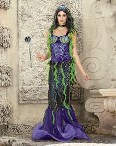 womens evil mermaid costume - Only at Chasing Fireflies - Killer sharks, stingrays, moray eels. Add evil mermaid to the list of scariest sea creatures. Halloween Dress, Halloween Outfits, Holiday Outfits, Halloween Costumes, Halloween 2015, Halloween Party, Creative Costumes, Cool Costumes, Costumes For Women