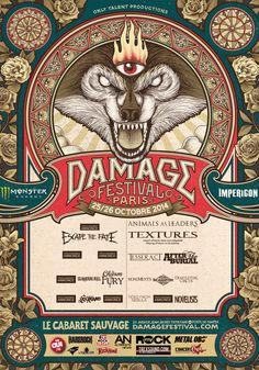 Damage Festival @ Le Cabaret Sauvage, 26/10/2014. 14h50 Doors 15h00 Novelists 15h35 Tides From Nebula 16h10 Circles 16h45 Devil Sold His Soul 17h25 The Algorithm 18h05 Monuments 18h55 After The Burial 19h50 Tesseract 20h55 Animal As Leaders 22h00 Textures