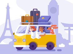 Wandering Van designed by Jessica Ciccolone. the global community for designers and creative professionals. Car Banner, Van Design, Bus Travel, Car Illustration, Game Concept, Channel, Illustrator Tutorials, Illustrations And Posters, Kid Spaces