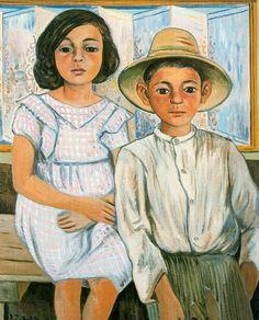 Niña sentada y niño de pie con sombrero. Rafael Zabaleta. 1943. Óleo sobre lienzo. 80 x 65 cm