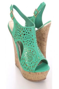 Seafoam Perforated Faux Leather Cork Wedges.