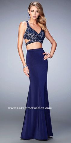 Jersey and Lace Two Piece Prom Dress by La Femme #edressme