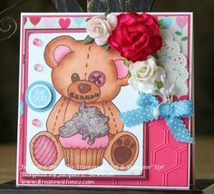 Design Team work for Crafting When We Can using Beary Birthday digital stamp from The Stamping Chef
