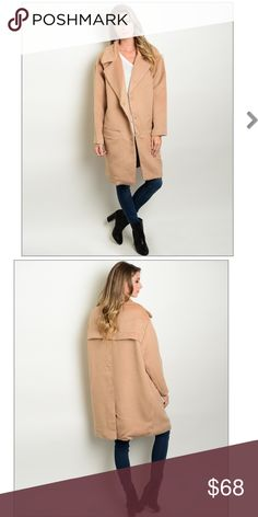 """Oversized Camel Coat 80% POLYESTER 20% VISCOSE Description: L: 38"""" B: 46"""" W: 44"""" Not FP (for searching) Free People Jackets & Coats"""