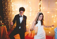 """Lesley Arfin + Paul Rust's Wedding; Favorite excerpts: """"Both of my parents walked me down the aisle. The music was Chan Marshall (aka Cat Power) singing a cover of """"Just Like Heaven"""" by The Cure with our friend Michael Cassady accompanying her on piano."""" & """"When Paul and I danced to """"Try A Little Tenderness"""" [we] went completely buck nuts. So much dancing! Everyone left around 130am.  My family and friends play a huge part in who I am today, and I never would've met Paul if it weren't for…"""