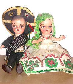 Vintage Mexican Composition Dolls,Senorita Doll,Hand painted,Composition Dolls, Mexican Children, Hispanic,Spanish,Vintage Doll,1940s by JunkYardBlonde on Etsy