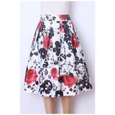 Women Pleated Vintage Skirts Floral Print A-Line Midi Skirt featuring polyvore, women's fashion, clothing, skirts, pleated a line skirt, calf length skirts, floral a line skirt, vintage pleated skirt and floral skirt