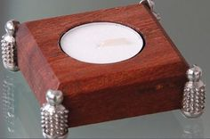 Pewter Handcrafted. Diana Carmichael design.Tea light holder rosewood 65x65mm - Studded Collection. GoodiesHub.com