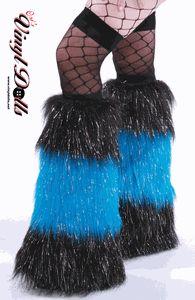*Glitter* 3 Tone Black / Neon Blue Rave Fluffies Furry Leg Warmers
