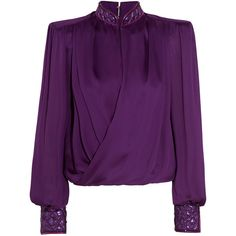 Balmain Wrap-effect embellished silk-satin blouse (21 720 ZAR) ❤ liked on Polyvore featuring tops, blouses, purple, metallic top, embellished tops, loose blouse, wrap around blouse and purple blouse