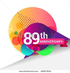89th Anniversary logo, Colorful geometric background vector design template…