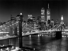 New York skyline with Brooklyn Bridge and WTC, World Trade Center, NYC  My home!!!