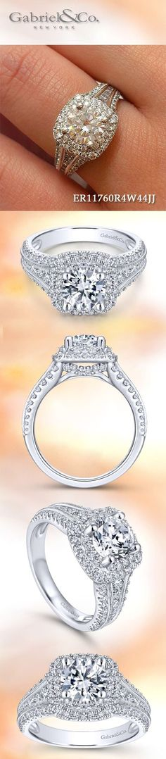 Gabriel & Co. - Voted Most Preferred Fine Jewelry and Bridal Brand. Double Halo Engagement Ring, Vintage Style Engagement Rings, Engagement Ring Shapes, Round Diamond Engagement Rings, Diamond Rings, Beautiful Wedding Rings, Beautiful Engagement Rings, Gabriel, Ring Verlobung