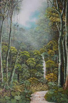 paisaje-amazonas-pintado-al-oleo Embroidery Art, Folk, Painting, Beautiful, Ideas, Oil On Canvas, Canvases, Naturaleza, Scenery