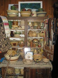 yelloware and crocks Antique Crocks, Antique Stoneware, Josephine Wall, Primitive Kitchen, Kitchen Witch, Thomas Kinkade, Prim Decor, Country Decor, Rustic Ladder