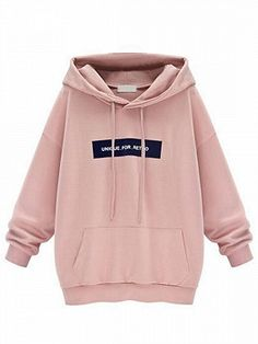 Shop Pink Letter Print Long Sleeve Hoodie from choies.com .Free shipping Worldwide.$35.99