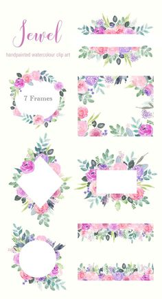 Watercolor Floral Clip Art, Pink and purple rose flower frames, jewel tones wedding invitation templates