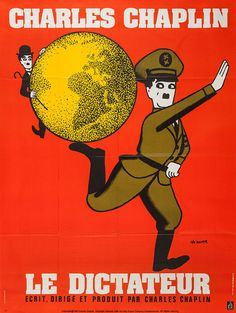 1970s French re-release grande for The Great Dictator (Charles Chaplin, USA, 1940); designer: Leo Kouper (b. 1926).