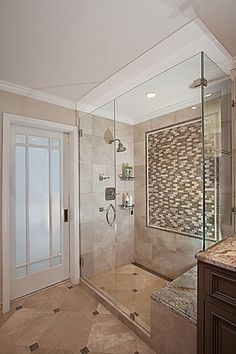 Bathroom Interior Design Ideas Great Traditional Master Bathroom nicely done--like that the shower doesn't have a door Bathroom Layout, Modern Bathroom Design, Bath Design, Bathroom Interior Design, Decor Interior Design, Bathroom Ideas, Bathroom Designs, Bathroom Updates, Interior Modern
