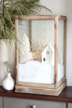 diy christmas village terrarium #whitechristmasdecorating