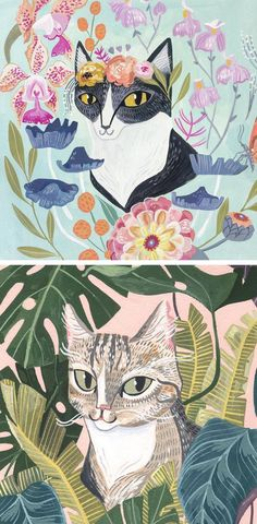 Illustrations by Rae Ritchie // gouache painting // cat illustrations #cats