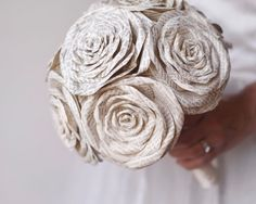 Flowers made from Antique Books - Vintage Cream Ribbon and Pearl Handle
