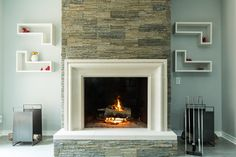 3 Respected Clever Tips: Transitional Exterior Painted Bricks transitional entryway hallways. Modern Fireplace Mantels, Cast Stone Fireplace, Fireplace Mantle, Transitional Living Rooms, Transitional House, Transitional Lighting, Living Room Built Ins, Modern Bedroom, Interior Decorating