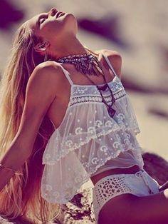 Boho beachwear- not your average everyday bikini- Femme Fatale crop top & crocheted bottoms sold separately- Free People- May Catalog. Boho Fashion Summer, Look Fashion, Bohemian Fashion, Beach Fashion, Bohemian Jewelry, Vogue Fashion, Modern Hippie Fashion, Bohemian Attire, Modern Hippie Style
