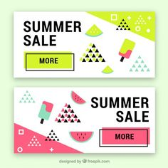 Memphis summer sale banners with ice-creams Free Vector Advertisement Examples, Ad Design, Flyer Design, Layout Design, Summer Ice Cream, Memphis Pattern, Web Banner Design, Memphis Design, Sale Banner