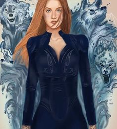 Feyre with her water wolves A Court of Mist and fury by Sarah J Maas