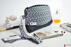 Black and White Flowers Wristlet Clutch