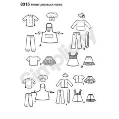 "Make these fun chef outfits with a Parisian influence for your 18"" doll. Pattern features chef coat, pants, hat and cupcake apron, 2-piece outfits with tee shirts and sailor pants or skirts, and a 2-piece dress with slip. Also includes beret and necktie. Simplicity sewing pattern."