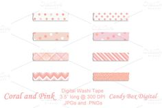 Check out Coral and Pink Digital Washi Tape by candyboxdigital on Creative Market