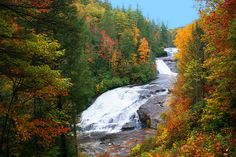 Triple Falls - at DuPont State Forest, a 10,400 acre forest preserve near Asheville, NC ... with hiking, mountain biking, a scenic lake and 4 major waterfalls. Forest and waterfall scenes from Hunger Games and Last of the Mohicans were filmed at DuPont.