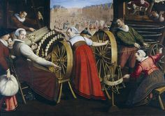 Isaac Claesz van Swanenburg - Workers spinning and weaving wool