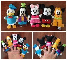 Mickey and friends Felt Finger puppets / Mickey Mouse / Finger Puppets / Felt crafts / Felt / handmade / Arte em Feltro / Dedoches Mickey e seus amigos / Miyuki´s Craft Creations
