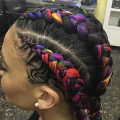 I will do rainbow colors-Red,Orange,Yellow ,Green,Blue,Purple Ethnic Hairstyles, Box Braids Hairstyles, Girl Hairstyles, Colored Box Braids, Braids With Color, Curly Hair Styles, Natural Hair Styles, Cool Braids, Festival Hair