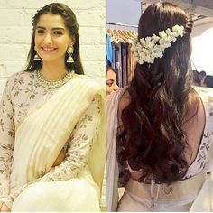 Loved Sonam Kapoor's latest look- especially the hair! Twisted braid, loose curls and mogra could be a great look for your mehend or even wedding! Saree Hairstyles, Indian Wedding Hairstyles, Latest Hairstyles, Sonam Kapoor Hairstyles, Indian Hairstyles For Saree, Bollywood Hairstyles, Loose Hairstyles, Look Fashion, Indian Fashion