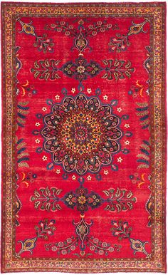 Vintage Persian Red Medallion Design 5'3 x by kordestanicollection