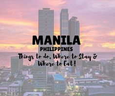 Travel Guide for Manila, Philippines including the best places to visit in Manila, the top things to do in Manila plus where to stay & where + what to eat! Visit Philippines, Manila Philippines, Philippines Travel, Philippine Holidays, Asia Travel, Cool Places To Visit, Travel Guides, The Good Place, Travel