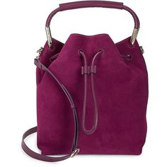 Halston Women's Suede Drawstring Bucket Bag ($248) ❤ liked on Polyvore featuring bags, handbags, shoulder bags, syrah, top handle handbags, top handle purse, purple purse, suede bucket bags and purple handbags
