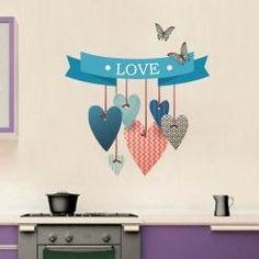 Amore Cuori e Farfalle Love Hearts and Butterflies Wall Sticker Adesivo da Muro