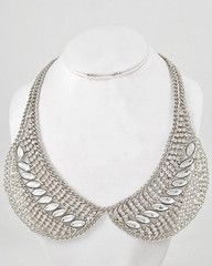 Ladies Who Lunch Silver and Rhinestone Peter Pan Collar Necklace-$48- Find hot fashion jewellery and statement jewlry at Strike Envy. #jewellery #jewlry
