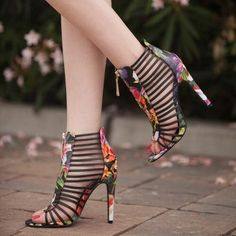Shoespie Multicolor Flower Pattern Cut-out Dress Gladiator Sandals